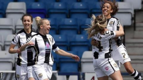 Notts County celebrate Jess Clarke's opener against Liverpool