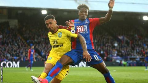 Wilfried Zaha playing for Crystal Palace against Burnley