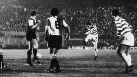 Tommy Gemmell scores for Celtic against Feyenoord in the 1970 European Cup final