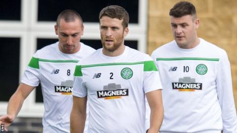 Adam Matthews (centre) in pre-season training with Celtic