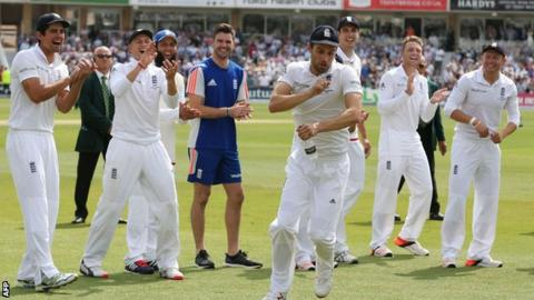 Mark Wood does his horse celebration at Trent Bridge