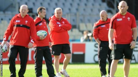 Wales skills coach Neil Jenkins, attack coach Rob Howley, head coach Warren Gatland, defence coach Shaun Edwards and forwards coach Robin McBryde during training