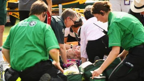 Bethanie Mattek-Sands injures right knee during second round match at Wimbledon