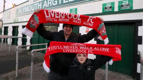 Liverpool fans outside Plymouth's ground, Home Park