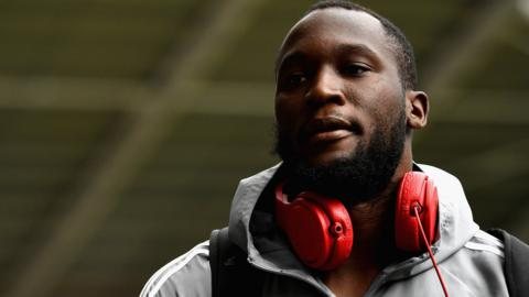 Romelu Lukaku of Manchester United arrives