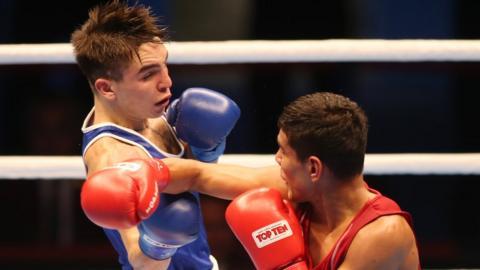 Belfast boxer Michael Conlan became the first Irish man to win a world amateur title when he beat Murodjon Akhmadaliev of Uzbekistan in the AIBA bantamweight final in Doha