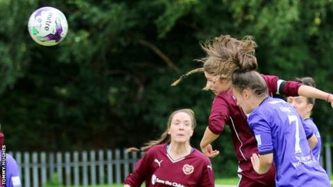 Abbi Grant (right) opens the scoring for Glasgow City against Hearts