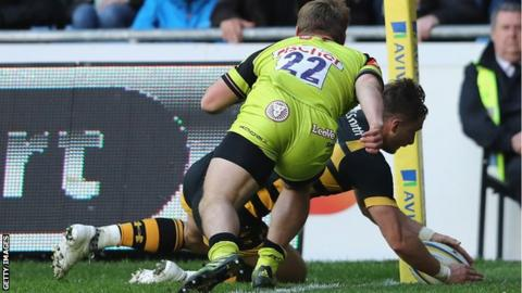 Josh Bassett scores Wasps' match-winning try against Leicester on Saturday