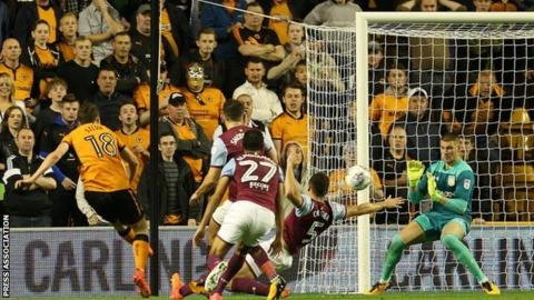 Atletico Madrid loan man Diogo Jota fired home his seventh goal of the season for Wolves