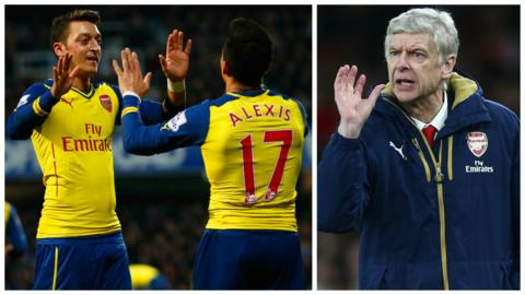 Arsenal's Mesut Ozil (left) and Alexis Sanchez, and Arsene Wenger