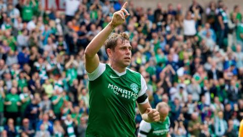 Grant Holt celebrates scoring for Hibernian