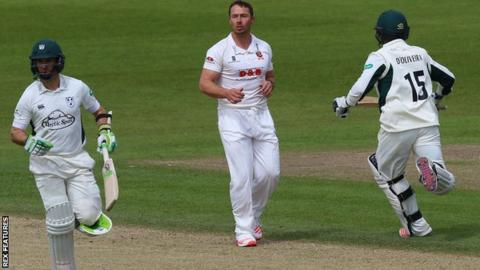Worcestershire openers Daryl Mitchell (left) and Brett D'OIiveira (right) put on 179 before Graham Napier took three wickets