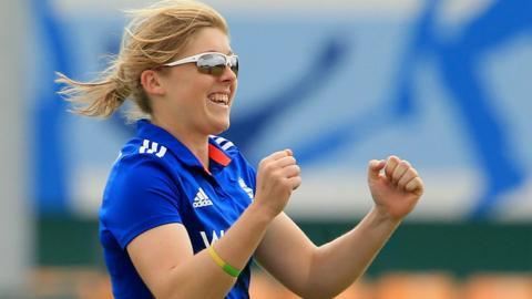 England's Heather Knight celebrates a wicket