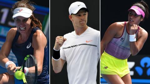 Johanna Konta, Kyle Edmund and Heather Watson