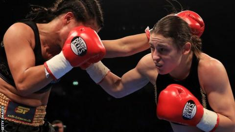 Katie Taylor: Ex-Olympic champion stops Monica Gentili in the fifth round