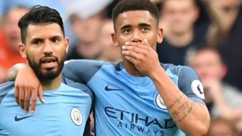 Man City forwards Sergio Aguero and Gabriel Jesus