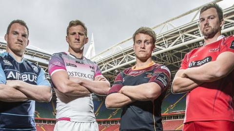 Gethin Jenkins of Cardiff Blues, Ospreys' Ben John, Dragons' Nic Cudd and David Bulbring of Scarlets