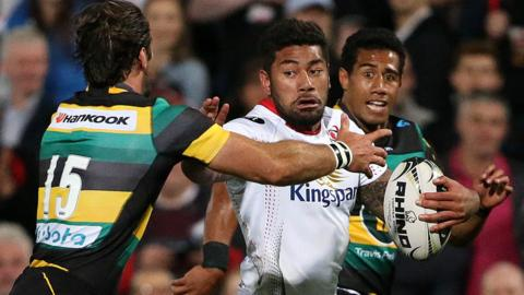 Charles Piutau makes a surging run against Northampton Saints