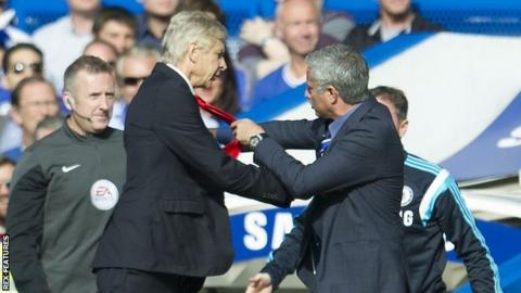Arsenal manager Arsene Wenger (left) and Jose Mourinho