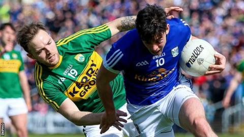 Kerry's Darran O'Sullivan challenges Cavan's Gerard Smith at Breffni Park