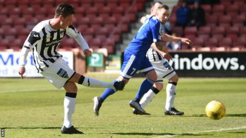 Joe Cardle scores for Dunfermline against Peterhead