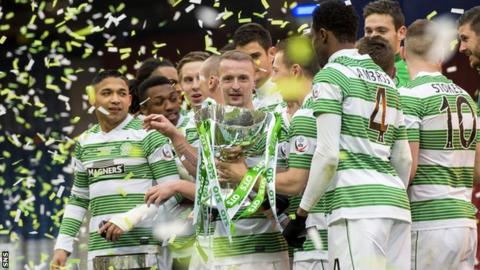Celtic celebrate defeating Dundee United in last season's League Cup final