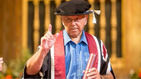 Mel Nurse receiving an honorary degree from Swansea University