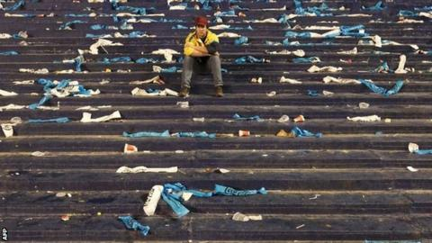 An Argentina fan after their team's draw against Peru
