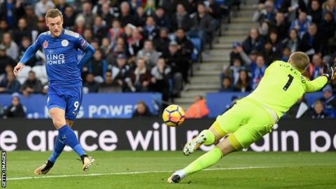 Jamie Vardy scores against Everton during Leicester's 2-0 win at the King Power Stadium in October