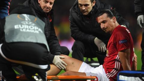 Zlatan Ibrahimovic suffered a cruciate ligament injury during Manchester United's Europa League quarter-final second-leg win over Anderlecht in April 2017