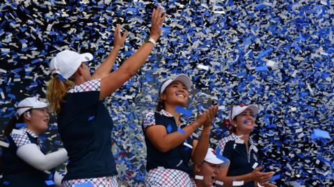 The United States celebrate winning the Solheim Cup
