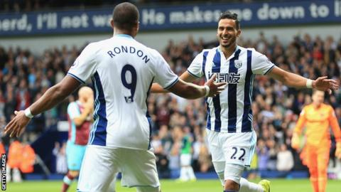 West Brom's Salomon Rondon and Nacer Chadli