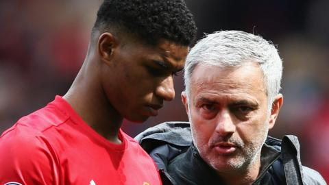 Man Utd manager Jose Mourinho and striker Marcus Rashford