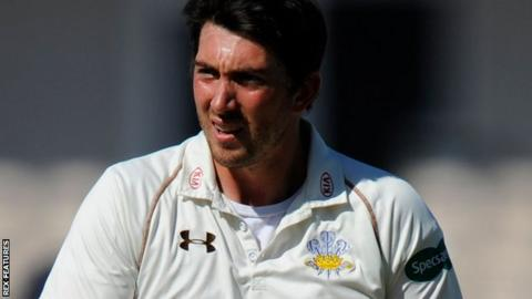 Surrey fast bowler Mark Footitt, who took 6-14 in the first innings, ended up with eight wickets in the match