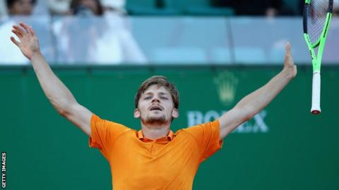 David Goffin celebrates his win against Novak Djokovic