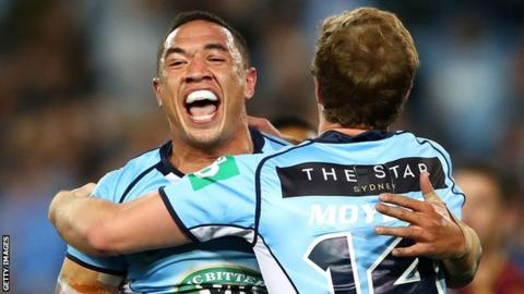 Tyson Frizell celebrates his second try for New South Wales