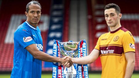 Rangers' Bruno Alves and Motherwell skipper Carl McHugh