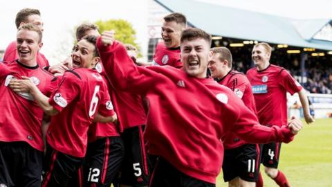 Brechin City celebrate their win at Stark's Park