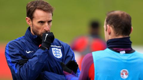 England manager Gareth Southgate and striker Wayne Rooney