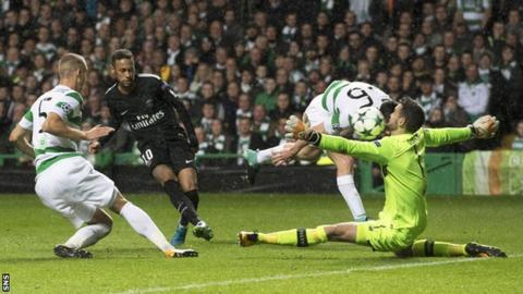 Neymar scores for Paris St-Germain against Celtic