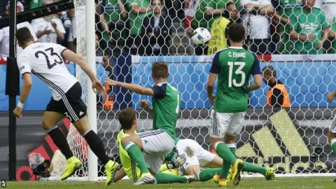Mario Gomez scores for Germany against Northern Ireland