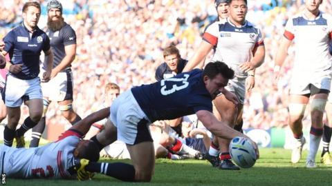 Matt Scott scores a try for Scotland against USA