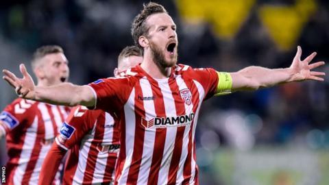 Ryan McBride celebrates scoring against league champions Dundalk at Maginn Park