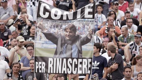 Juventus fans' Conte banner