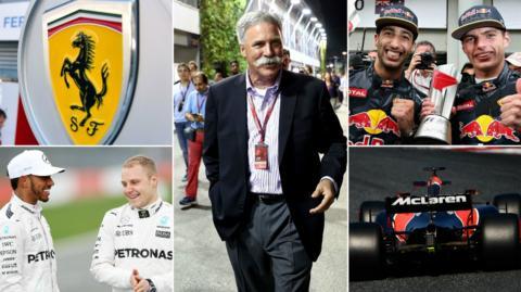 Ferrari logo, Hamilton & Bottas, Chase Carey, Ricciardo & Verstappen & McLaren Honda car
