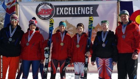 British para skiiers Menna Fitzpatrick, Millie Knight and Kelly Gallagher