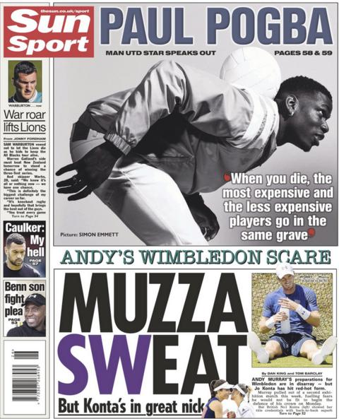 The Sun leads with an exclusive interview with Paul Pogba