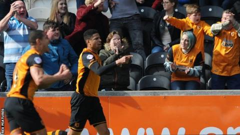 Curtis Davies (right) celebrates his first-half goal against Bristol City