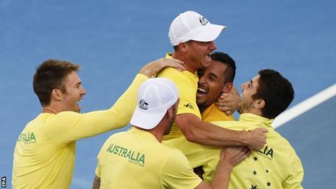 Australia celebrate victory over United States