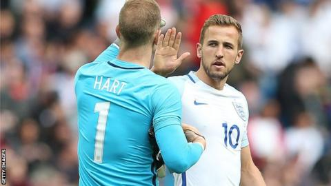 England's goalkeeper Joe Hart (left) and striker Harry Kane